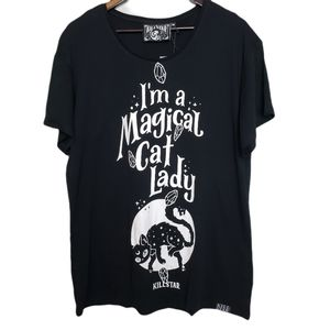 "NWT KILLSTAR "" I'm a magical cat lady"" tee shirt M"